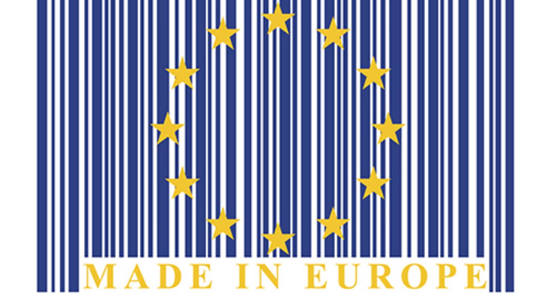 Európai Uniós zászlós formájú és színű vonalkód Made in Europe felirattal